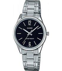 reloj analógico mujer casio ltp-v005d-1b - plateado con negro  envio gratis*