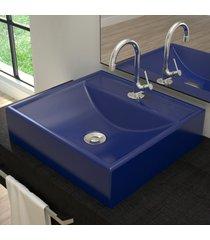 cuba para banheiro quadrada azul escuro q39 - compace