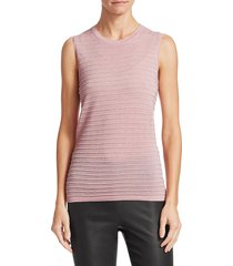 saks fifth avenue women's collection ribbed sleeveless merino lurex top - periwinkle - size xs