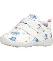 zapatilla cuero fisioflex flores y velcros de glitter blanco bibi
