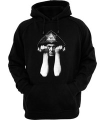 aleister crowley - hand screened, pre-shrunk cotton blend pullover hoodie