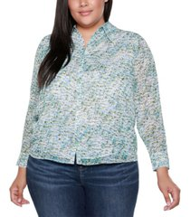 belldini black label plus size floral print long sleeve collared button up shirt