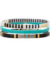 luxe 3-piece goldtone & cubic zirconia stretch bracelet set