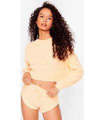 womens knit pause sweater and shorts lounge set - apricot