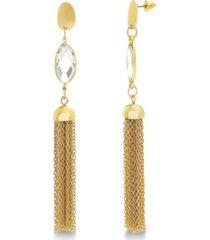 catherine malandrino women's white rhinestone marquise shaped tassel style yellow gold-tone dangle earrings