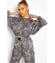 camo print batwing top, charcoal