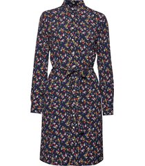 d1. scribbled floral shirt dress jurk knielengte blauw gant