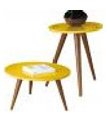 kit mesa lateral com mesa de centro decorativa sofia b01 amarelo pés palito - lyam decor