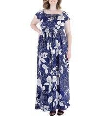 plus size print pleated empire waist maxi dress