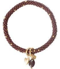 armband a beautiful story jacky garnet heart gold plated bracelet
