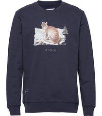 lynx sweatshirt sweat-shirt trui blauw makia
