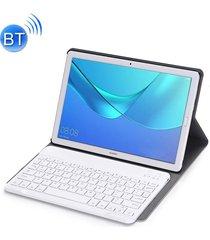 teclado bluetooth desmontable ultrafinos funda de cuero flip horizontal para huawei mediapad m5 10,8 pulgadas, con el titular (oro rosa)
