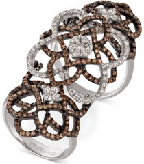 le vian chocolatier diamond knuckle ring (2 ct. t.w.) in 14k white gold
