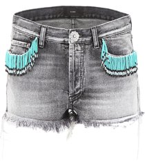 alanui denim shorts with beads