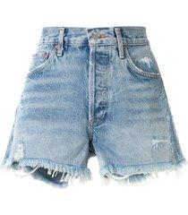agolde swap meet distressed shorts - blue