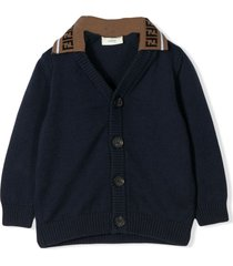 fendi navy blue cotton cardigan