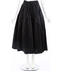 marques almeida black silk tiered full skirt black sz: m