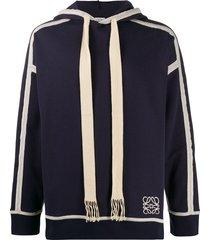 loewe anagram drawstring hooded sweatshirt - blue