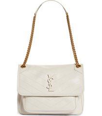 saint laurent medium niki leather shoulder bag - ivory