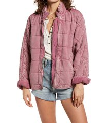 women's free people dolman sleeve quilted jacket, size small - pink