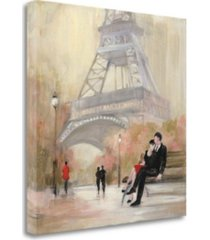 "tangletown fine art romantic paris i red jacket by julia purinton giclee on gallery wrap canvas, 35"" x 35"""