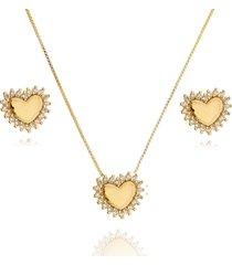 conjunto lua mia joias coraã§ã£o com lateral de zircã´nias banho ouro - dourado - feminino - dafiti