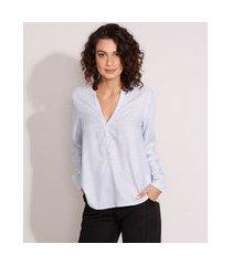camisa ampla de viscose listrada manga longa decote v azul