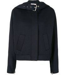 3.1 phillip lim buckle strap hooded jacket - blue