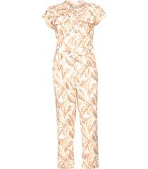 jumpsuit met bladerenprint catriona  roze