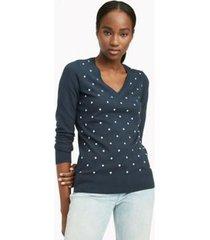 sweater manga larga ivy lurex dot azul tommy hilfiger