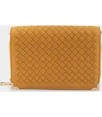 jayla woven wallet - mustard