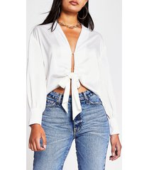 river island womens white tie front crop shirt