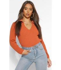 polo collar rib knit sweater, rust