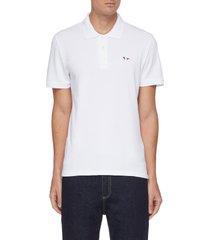 tricolour fox patch cotton pique polo shirt