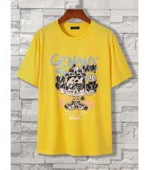 koyye men casual graphic letter print t-shirt