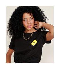 camiseta cropped de algodão lisa simpson com nó manga curta decote redondo preta