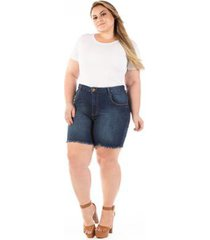 shorts jeans com puídos e desfiado plus size feminino