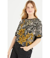 bluzka z łączonych materiałów