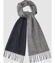 reiss wilson - wool cashmere blend striped scarf in navy, mens