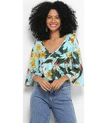 blusa mercatto transpassada floral manga sino feminina