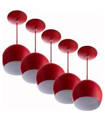 kit 5 lustres pendente bola pequena alumínio 15cm vermelho