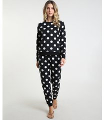 pijama feminino estampado de poá em fleece manga longa preto