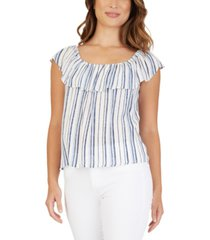 bcx juniors' striped ruffled top