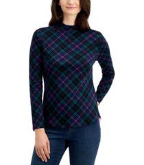 charter club cotton plaid mock neck top, created for macy's