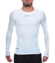camiseta licrada manga larga blanco saeta moldfit