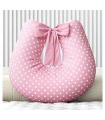 almofada amamentação poá rosa c/ zíper grão de gente rosa
