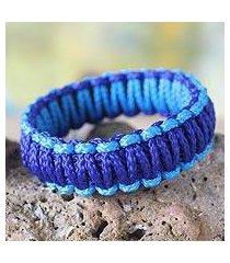 bangle bracelet, 'queen amina in blue' (ghana)