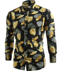 allover golden leaves print button up shirt
