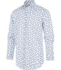 blue industry overhemd wit fietsen print print semi spread