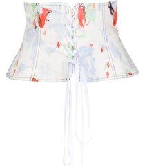 philosophy di lorenzo serafini abstract print peplum corset belt -